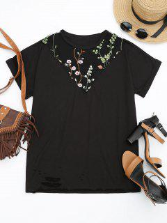 Floral Embroidered Mesh Panel T-shirt - Black L