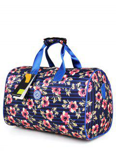 Nylon Printed Gym Bag - Blue And Pink