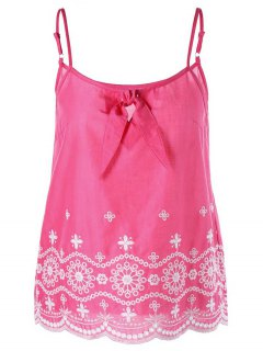 Embroidered Cami Tank Top - Pink 2xl