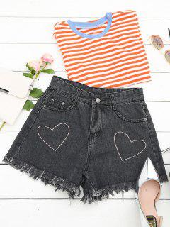 Cufoffs Heart Embroidered Denim Shorts - Black M