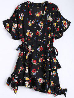 Floral Bowknot Chiffon Asymmetrical Dress - Black L