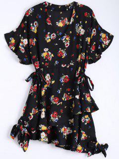 Robe Asymétrique En Mousseline De Soie Florale Bowknot - Noir L