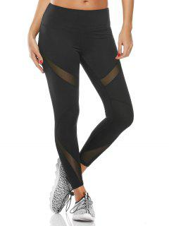 Midi Waist Capri Mesh Panel Workout Leggings - Black M