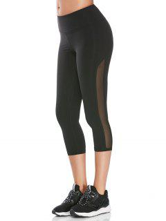 Sheer Mesh Cropped Athletic Leggings - Black M