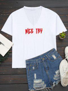 Camiseta Floja De La Letra Del Ahogador - Blanco S
