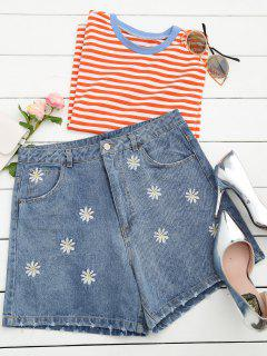 Ripped Daisy Embroidered Denim Shorts - Denim Blue S