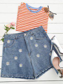 Ripped Daisy Embroidered Denim Shorts - Denim Blue L