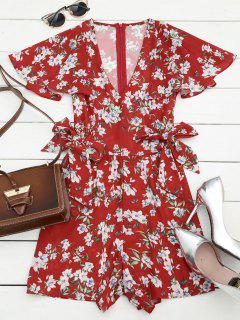 Bowknot Floral Chiffon Romper - Rouge L