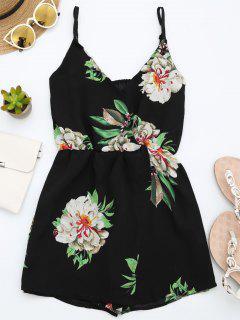 Cami Layered Floral Romper - Black S