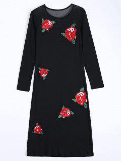 Floral Applique Sheer Mesh Club Dress - Black S