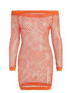 Off Shoulder Fishnet Beach Cover Up Dress - Orange S