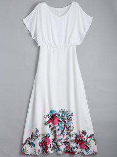 Floral Flonuces Maxi Chiffon Dress - White L
