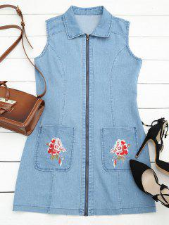 Floral Embroidered Zippered Denim Dress - Denim Blue S