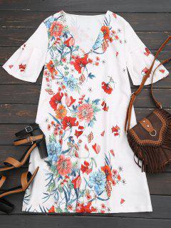 Robe Droite Florale à Manches Papillon - Floral L