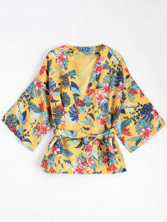 Belted Floral Kimono Blouse Coat - Yellow S