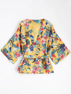 Kimono Bluse Mantel Mit Gürtel Und Blumendruck - Gelb M