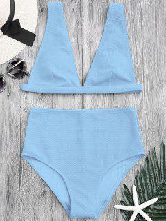Textured Plunge High Waisted Bikini Set - Light Blue L