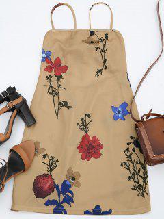 Backless Flower Cami Dress - Floral L