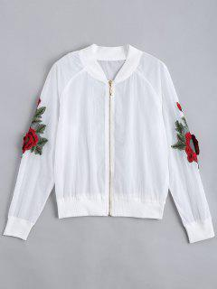 Floral Patched Zip Up Jacket - White M