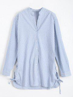 Longline Side Lace Up Striped Boyfriend Shirt - Blue And White L