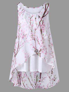 Plus Size Tiny Floral Overlap Sleeveless Top - Pink 4xl