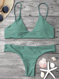 Adjustable Straps Padded Bralette Bikini Set - Army Green M