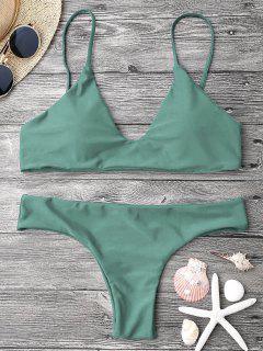 Adjustable Straps Padded Bralette Bikini Set - Army Green M