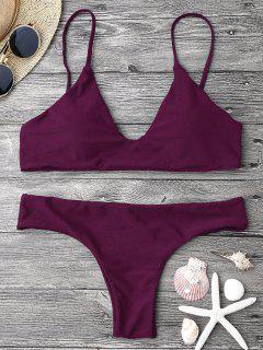 Verstellbare Riemen Gepolsterte Bralette Bikini Set - Merlot L