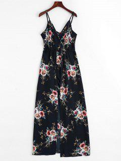 Floral Print Cami Maxi Romper - Purplish Blue Xl