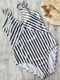 Slimming Striped Strappy One Piece Swimsuit - White And Black L