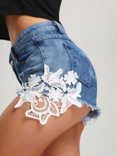 Ripped Frayed Hem Denim Mini Shorts - Blue S