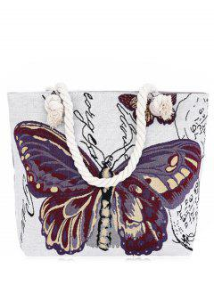 Butterfly Painted Canvas Shoulder Bag - Purple