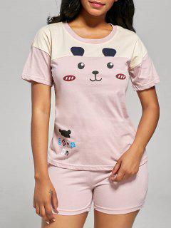 Camiseta Y Pantalones Cortos De Pijama De Estampado De Oso - Rosa Luz 2xl