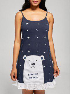 Bear Print Cotton Cami Sleep Dress - Cerulean Xl