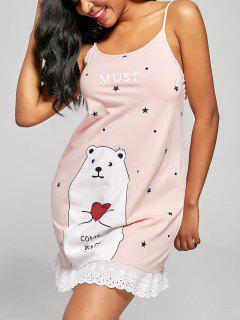 Bear And Stars Print Cami Sleep Dress - Orangepink Xl