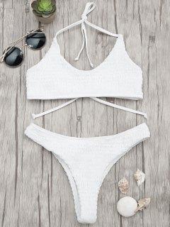 Gepolsterter Smocked Bralette Bikini Set - Weiß M