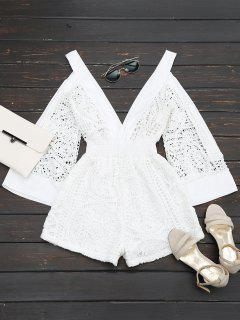 Plunging Neck Cold Shoulder Hollow Out Romper - White M