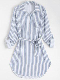 Belted Striped Long Sleeve Shirt Dress - Stripe L