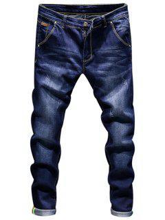 Riss Zip Fly Skinny Jeans - Dunkelblau 34