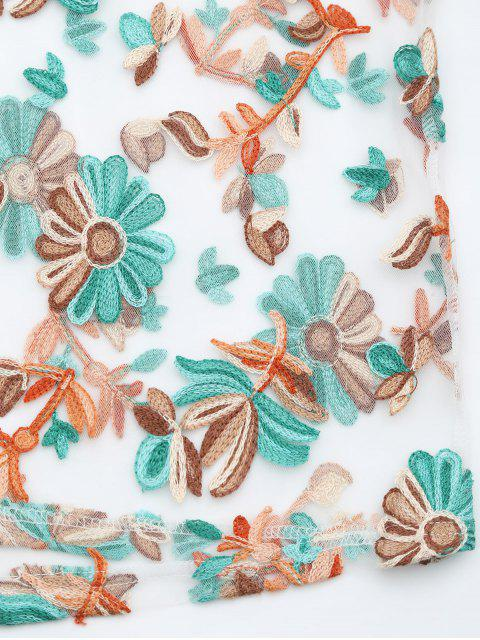fancy Floral Patched Sheer Mesh Dress - FLORAL L Mobile