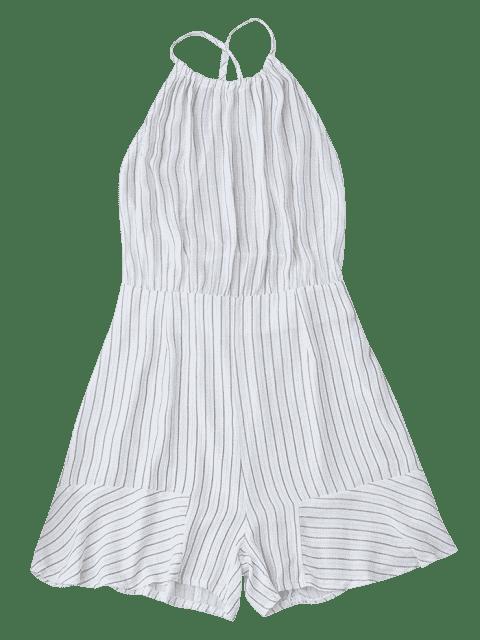 affordable Open Back Striped Spaghetti Strap Romper - WHITE S Mobile