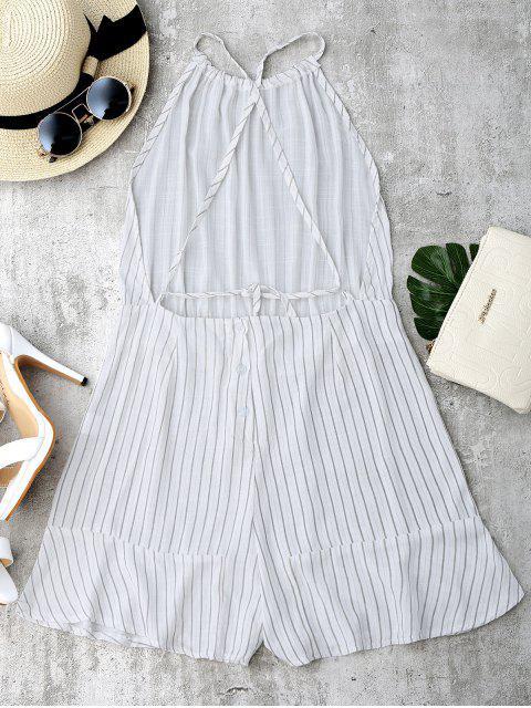 Barre à épaulettes à rayures à rayures ouvertes - Blanc L Mobile