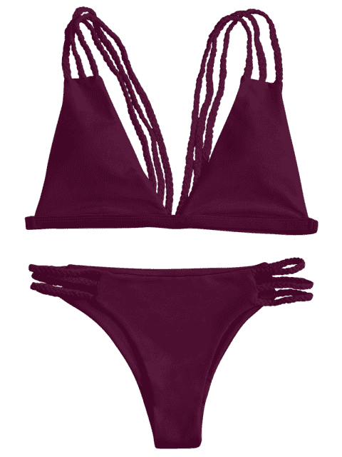 lady Low Cut Strappy Bralette Bikini - BURGUNDY M Mobile