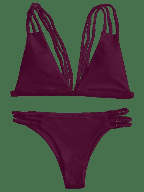 best Low Cut Strappy Bralette Bikini - BURGUNDY S Mobile