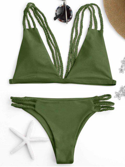 hot Low Cut Strappy Bralette Bikini - GREEN S Mobile