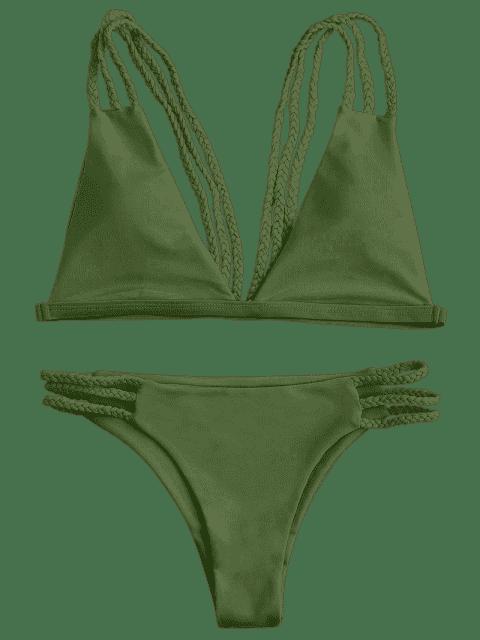 hot Low Cut Strappy Bralette Bikini - GREEN S Mobile