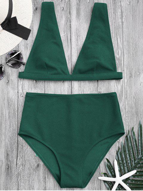trendy Textured Plunge High Waisted Bikini Set - GREEN S Mobile