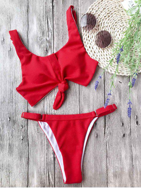 women Adjustable Textured Knotted Bralette Bikini Set - RED L Mobile