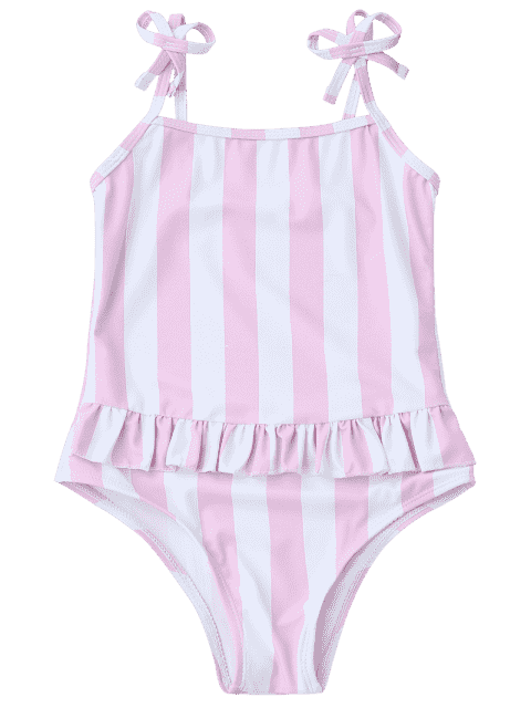 shop Bow Straps Striped Kids One Piece Swimsuit - PINK AND WHITE 3T Mobile