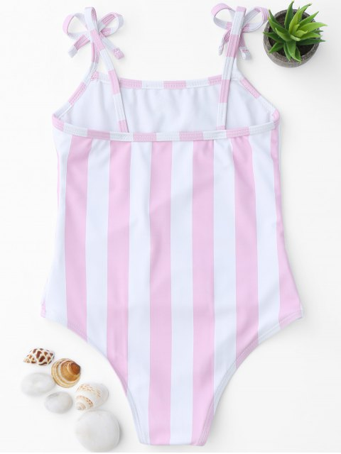 shops Bow Straps Striped Kids One Piece Swimsuit - PINK AND WHITE 4T Mobile